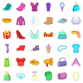 Woman shop icons set, cartoon style