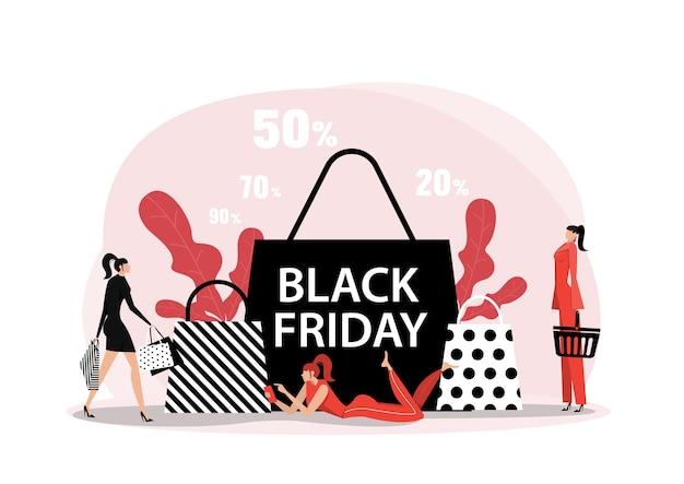 Магазин женщины на дату черной пятницы с концепцией квартиры покупок онлайн.