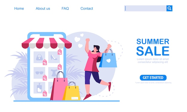 A woman shop with summer discount at mobile application store. online shopping concept, perfect for web design, banner, mobile app or landing page. scalable and editable illustration.