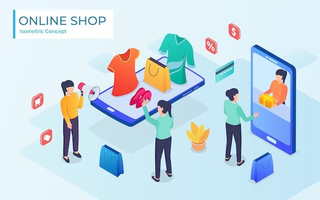Woman shopped online store. e-shopping concept.