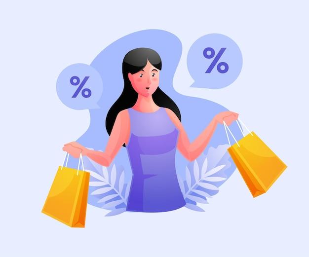 女性の買い物と割引を受ける