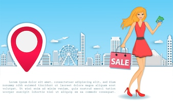 Woman shopping around the world concept.