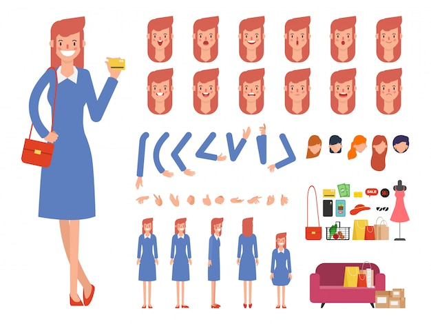 Woman shopping character ready for animation mouth.