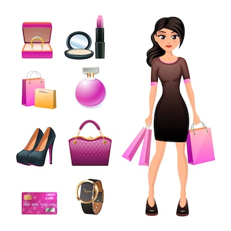 Woman shopping character with fashion accessories jewelry and cosmetics