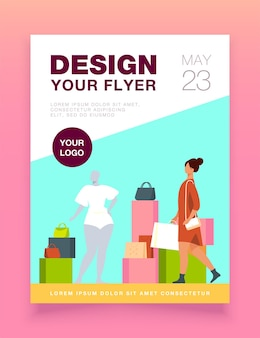 Woman shopping in fashion store flyer template