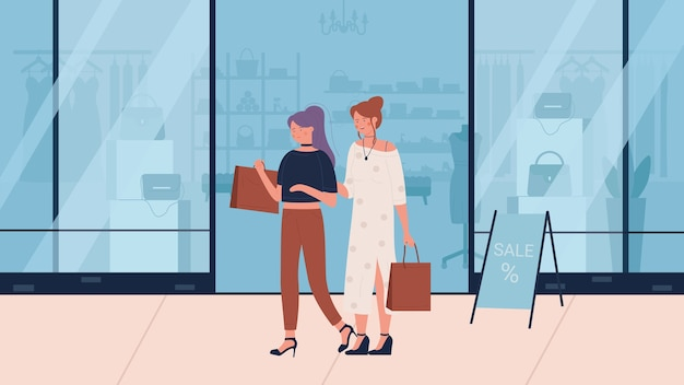 Woman shopping flat vector illustration.