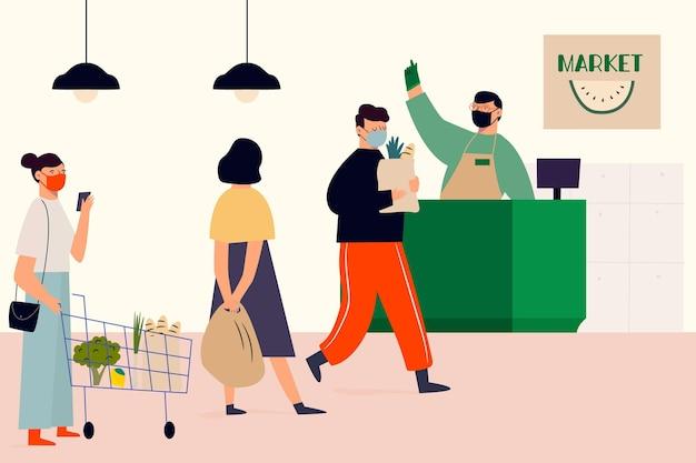 市場で食料品の買い物の女性
