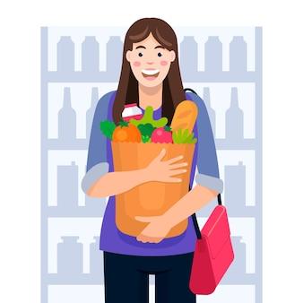 Женщина, ходить по магазинам для продуктов
