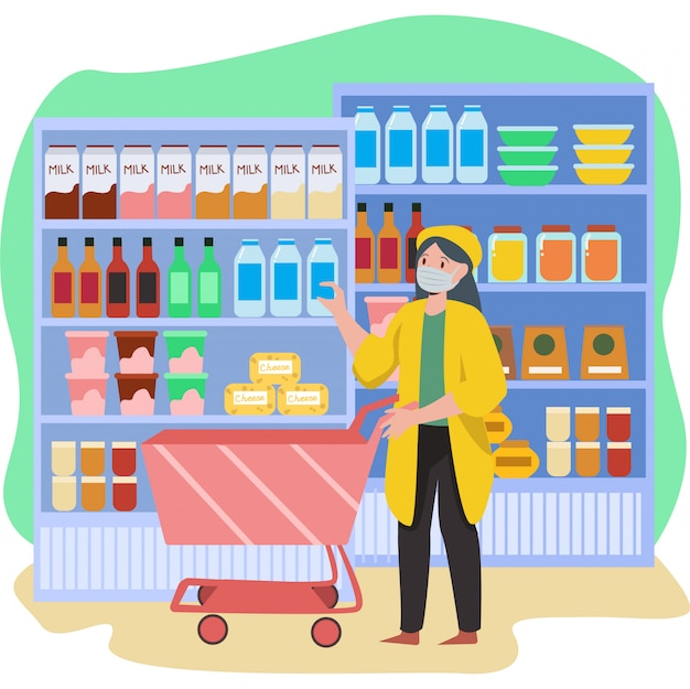 A woman shopping at groceries shop while keep using medical mask