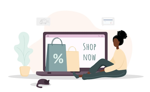 Woman shopping. happy african girl shop at an online store.  cartoon illustration isolated