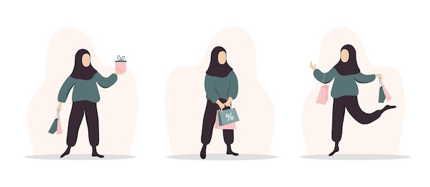 Woman shopping. happy arab girl carrying bags and gifts.