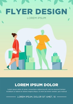 패션 스토어에서 쇼핑하는 여자. 가방, 마네킹, 액세서리 평면 벡터 일러스트와 함께 고객. 소비, 소비자, 의류 구매 개념
