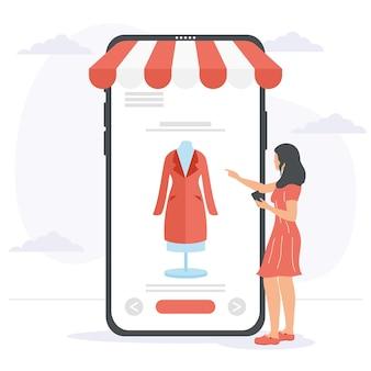 Smarphoneで買い物をする女性