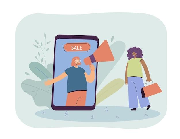 Женщина, делающая покупки онлайн со скидками плоской иллюстрации