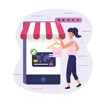Woman shopping online blouse with her smartphone and credit card