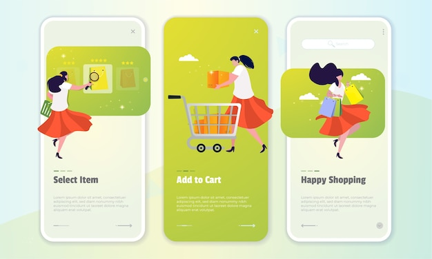 A woman shopping online on the on board screen concept