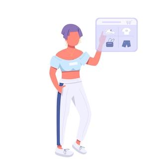 Женщина делает покупки в интернете плоский цвет безликий персонаж. образ жизни поколения z, электронные покупки. девушка покупает одежду в интернете, изолированных иллюстрация шаржа для веб-графического дизайна и анимации