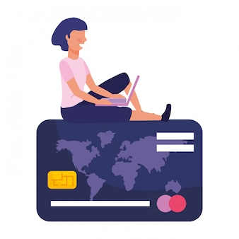 Woman shopping online illustration
