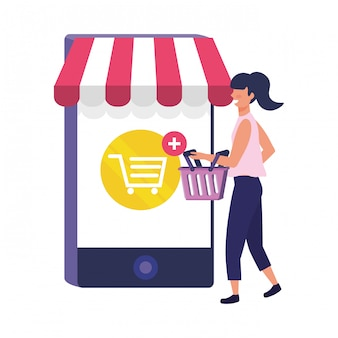 Woman shopping online illustration