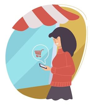 온라인 쇼핑을 하는 여성, 온라인 상점에서 판매 및 할인을 확인하는 여성. 제품을 구입하는 거리를 따라 걷는 소녀. 구매 및 주문, 광고 및 마케팅. 평면 스타일의 벡터