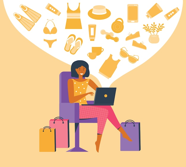 Woman shopping online on laptop. customer selects the goods to online order. shopper use internet device buy product e-commerce. girl chooses a product in an e-shop.  flat illustration