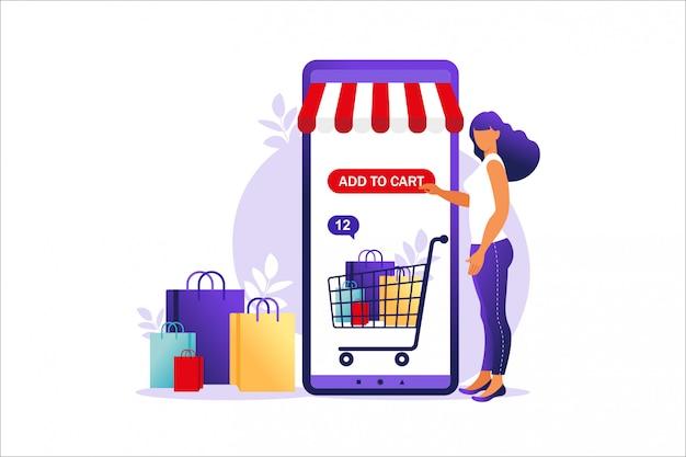 Женщина, покупки в интернете на мобильном телефоне. концепция интернет-магазинов, интернет-магазин оплаты. банковские кредитные карты, безопасные онлайн-платежи и финансовые счета. кошельки для смартфонов, цифровые платежные технологии.