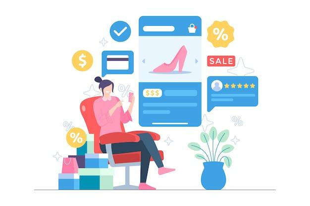 在网上购物通过移动应用程序例证的妇女
