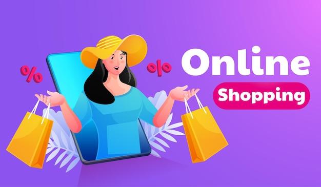 모바일 스마트 폰으로 온라인 쇼핑 여자 프리미엄 벡터