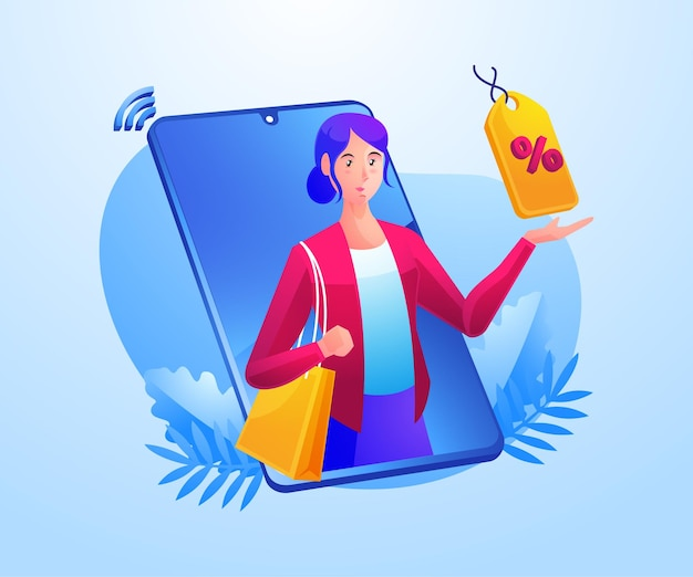 モバイルスマートフォンでオンラインショッピングをする女性