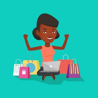 Woman shopping online .