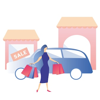 Woman shopping rent car sale discount