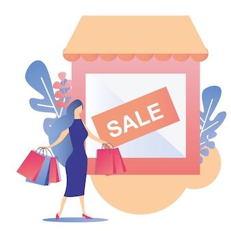 여자 쇼핑 판매 제안 프로모션