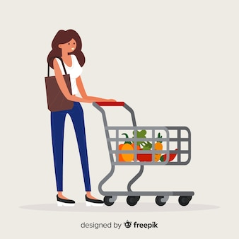 Woman shopping at the supermarket background