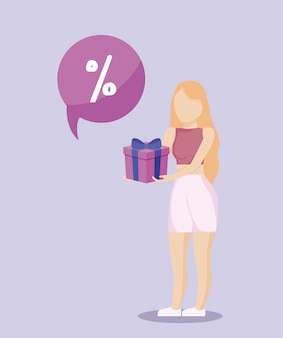 Woman shopping with gift present