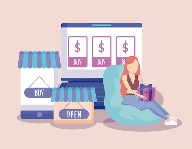 Woman shopping with gift and set icons