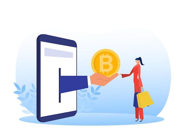 スマートフォンでデジタル仮想電子コインビットコインを購入して買い物をする女性
