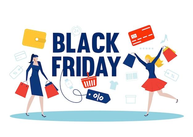 여성 상점은 검은 금요일 쇼핑백과 선물 상자를 즐깁니다. 할인으로 물건을 사는 사람들.