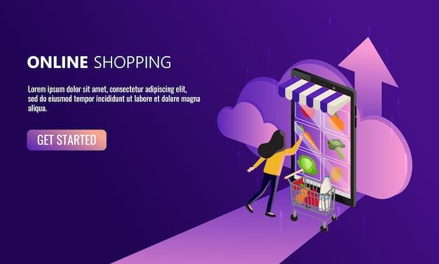 Женщина делает покупки в интернете со своего смартфона. легкая концепция продуктового магазина. новый нормальный образ жизни в эпоху пандемии коронавируса. оставайтесь дома в безопасности.