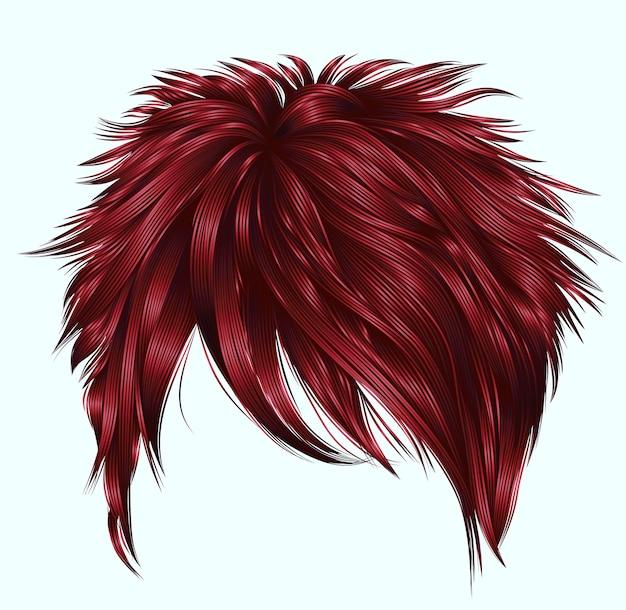 여자 짧은 머리카락 붉은 색.
