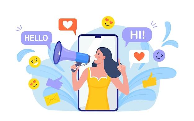 스마트폰 화면에서 확성기로 외치는 여성, 구독자, 긍정적인 피드백, 추종자를 끌어들입니다. 소셜 미디어 홍보, 마케팅. 청중과의 커뮤니케이션. 인플루언서 홍보대행팀