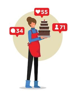그녀의 소셜 미디어 추종자에게 그녀의 수제 케이크를 보여주는 여자