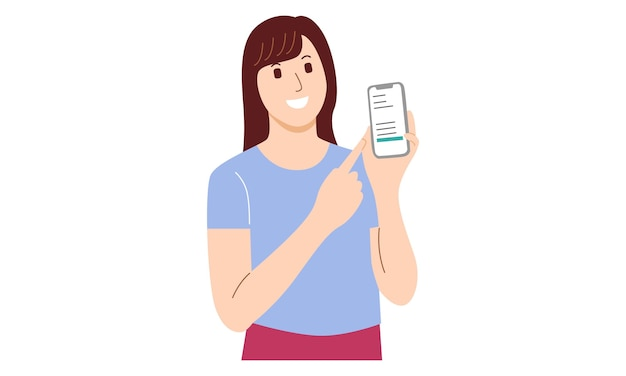 Woman showing smartphone and pointing towards that