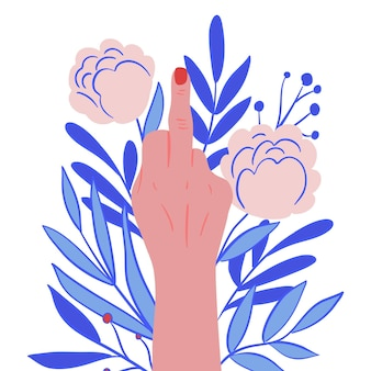 Женщина показывает символ ебать тебя с цветочными орнаментами