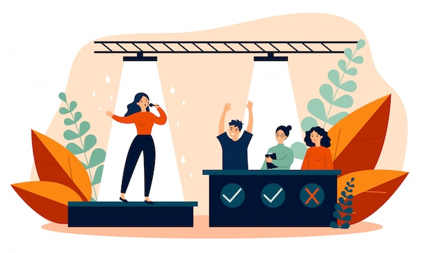 Woman signing at talent show flat vector illustration