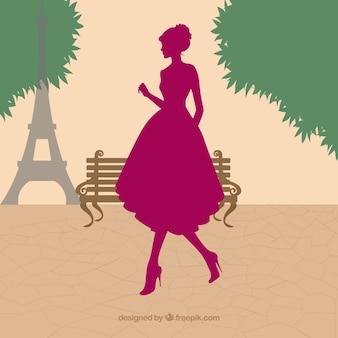 파리에서 여성 실루엣