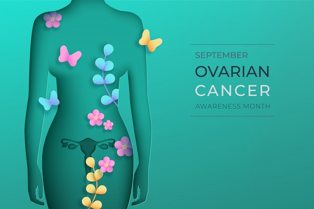 Woman silhouette in paper cut style with shadow on a teal background. september is world ovarian cancer awareness month. front view woman, flowers, branches, butterflyes.