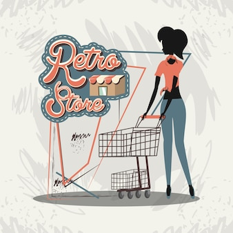 Woman silhouette in shopping day style retro