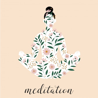 Woman silhouette sitting in meditation  pose. lotus pose  silhouette.