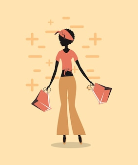Woman silhouette with shopping bags retro style