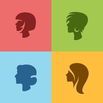 女性のシルエットのヘアスタイルセット